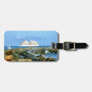 Etiqueta De Bagagem Seascape com o navio de cruzeiros personalizado