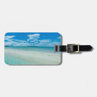 Etiqueta De Bagagem Seascape tropical azul, Palau