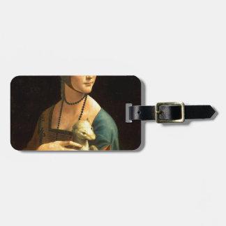Etiqueta De Bagagem Senhora da pintura de Da Vinci original com um
