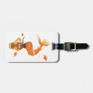 Etiqueta De Bagagem Sereia da cauda dos peixes do ouro