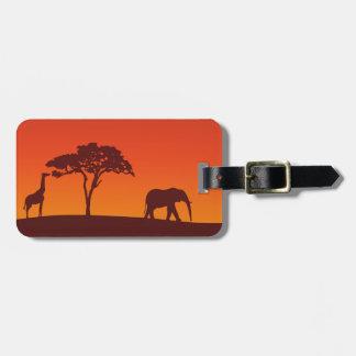 Etiqueta De Bagagem Silhueta africana do safari - Tag da bagagem