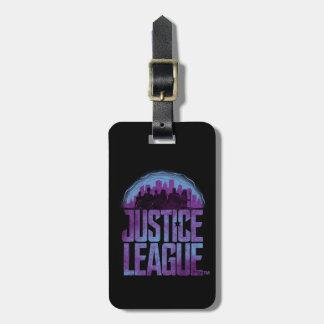 Etiqueta De Bagagem Silhueta da cidade da liga de justiça da liga de