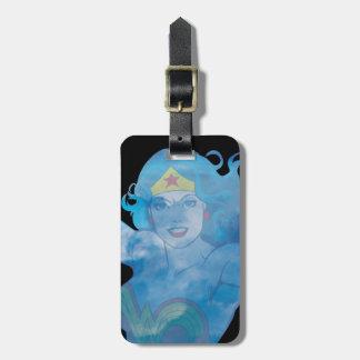 Etiqueta De Bagagem Silhueta do céu azul da mulher maravilha