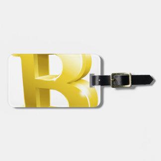 Etiqueta De Bagagem Símbolo do sinal do ouro de Bitcoin 3d