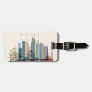 Etiqueta De Bagagem Skyline da cidade de Melbourne, Austrália  