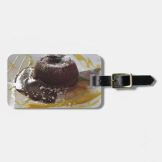 Etiqueta De Bagagem Sobremesa morna do bolo da lava do fundente do