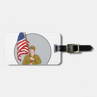 Etiqueta De Bagagem Soldado americano que guardara o desenho do