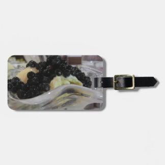 Etiqueta De Bagagem Sorvete da baunilha com uvas-do-monte silvestres
