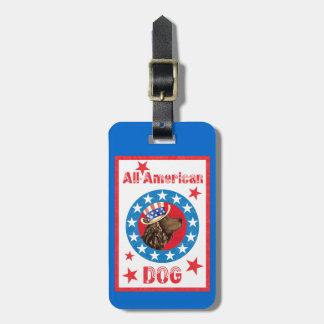 Etiqueta De Bagagem Spaniel de água americana patriótico