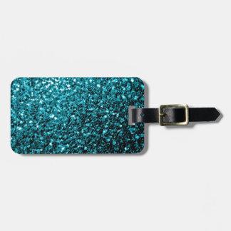 Etiqueta De Bagagem Sparkles azuis do brilho do Aqua bonito
