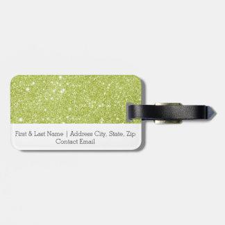 Etiqueta De Bagagem Sparkles do brilho do verde limão