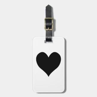 Etiqueta De Bagagem Sr. do coração e Sra. pretos Caligrafia Nome