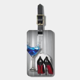 Etiqueta De Bagagem stilletos da menina de cocktail de martini do