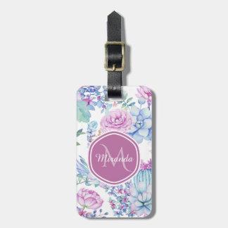Etiqueta De Bagagem Succulent roxo e azul elegante floral com nome