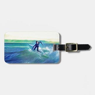 Etiqueta De Bagagem Surfista