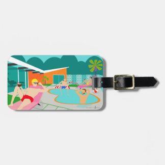 Etiqueta De Bagagem Tag alegre retro da bagagem da festa na piscina