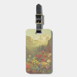 Etiqueta De Bagagem Tag alpino da bagagem das flores da aguarela