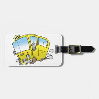 Etiqueta De Bagagem Tag amarelos da bagagem do ônibus dos desenhos