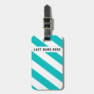 Etiqueta De Bagagem Tag azul & branco do Aqua da bagagem