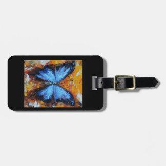 Etiqueta De Bagagem Tag azul da bagagem da borboleta