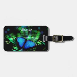 Etiqueta De Bagagem Tag azul da bagagem da borboleta com correia de