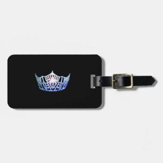 Etiqueta De Bagagem Tag azul da bagagem da coroa da senhorita América