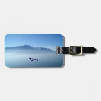 Etiqueta De Bagagem Tag azul da bagagem da paisagem