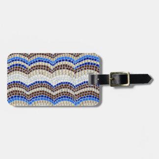 Etiqueta De Bagagem Tag azul da bagagem do mosaico