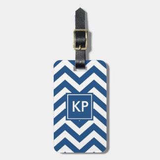 Etiqueta De Bagagem Tag azul personalizado monograma da bagagem de