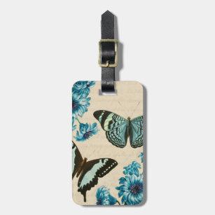Etiqueta De Bagagem Tag bonito da bagagem da borboleta de turquesa