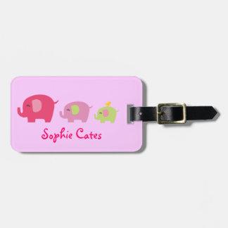 Etiqueta De Bagagem Tag bonito do saco das meninas dos elefantes