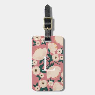 Etiqueta De Bagagem Tag chique da bagagem do monograma floral