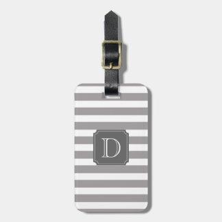 Etiqueta De Bagagem Tag cinzento e branco da bagagem do monograma da