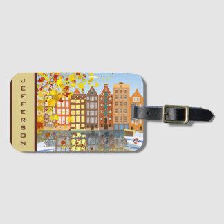 Etiqueta De Bagagem Tag colorido da bagagem do canal da cidade de