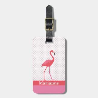Etiqueta De Bagagem Tag cor-de-rosa da bagagem do flamingo