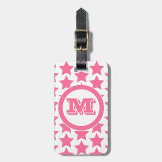 Etiqueta De Bagagem Tag cor-de-rosa da bagagem do monograma do teste