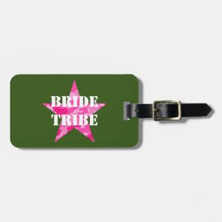 Etiqueta De Bagagem Tag cor-de-rosa da bagagem do tribo da noiva da