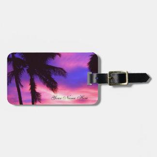 Etiqueta De Bagagem Tag cor-de-rosa e roxo da bagagem do por do sol da