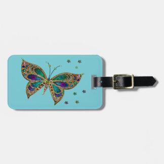 Etiqueta De Bagagem Tag da bagagem--Borboleta do mosaico