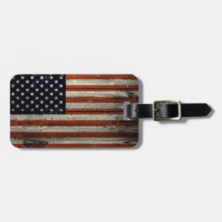 Etiqueta De Bagagem Tag da bagagem com impressão de madeira americano