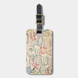 Etiqueta De Bagagem Tag da bagagem com selos do viagem