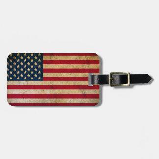 Etiqueta De Bagagem Tag da bagagem da bandeira americana do vintage