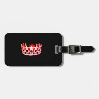 Etiqueta De Bagagem Tag da bagagem da coroa do coral vermelho da