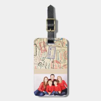 Etiqueta De Bagagem Tag da bagagem da foto com selos do viagem