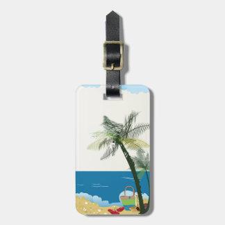 Etiqueta De Bagagem Tag da bagagem da imagem da cena da praia