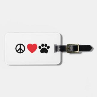 Etiqueta De Bagagem Tag da bagagem da pata do amor da paz