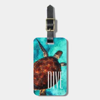 Etiqueta De Bagagem Tag da bagagem da tartaruga de mar do mergulho