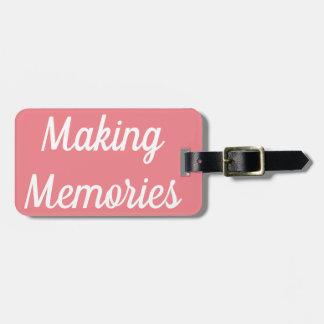 Etiqueta De Bagagem Tag da bagagem das memórias do fazer