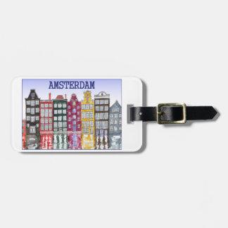 Etiqueta De Bagagem Tag da bagagem de Amsterdão com ilustração