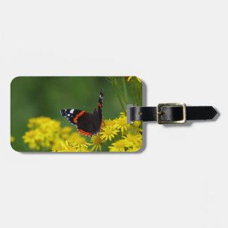 Etiqueta De Bagagem Tag da bagagem do almirante vermelho borboleta